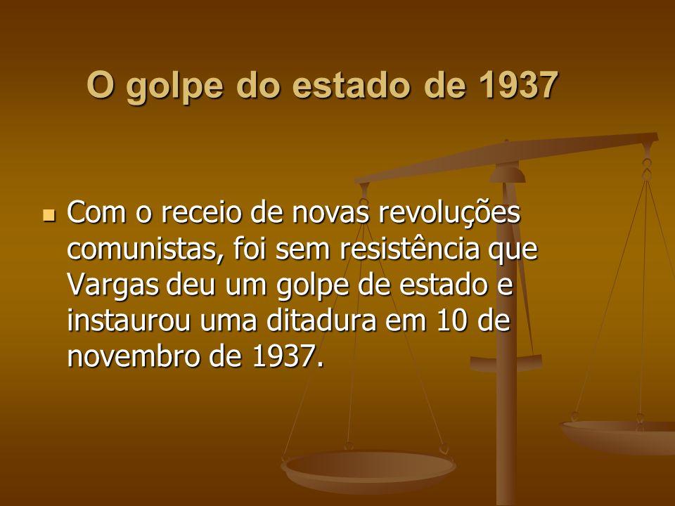 A implantação do Estado Novo e sua política Getúlio Vargas determinou o fechamento do Congresso Nacional e extinção dos partidos políticos.