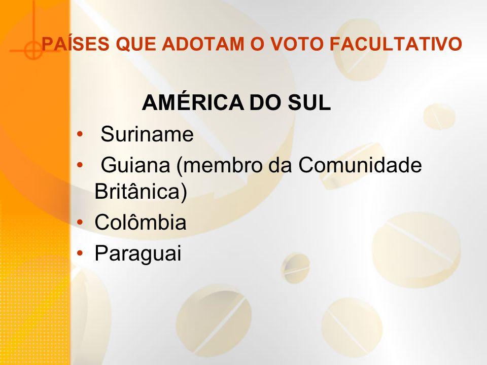 PAÍSES QUE ADOTAM O VOTO FACULTATIVO AMÉRICA DO SUL Suriname Guiana (membro da Comunidade Britânica) Colômbia Paraguai