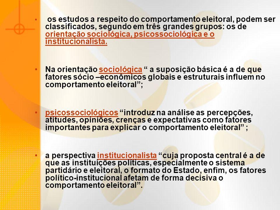 os estudos a respeito do comportamento eleitoral, podem ser classificados, segundo em três grandes grupos: os de orientação sociológica, psicossocioló