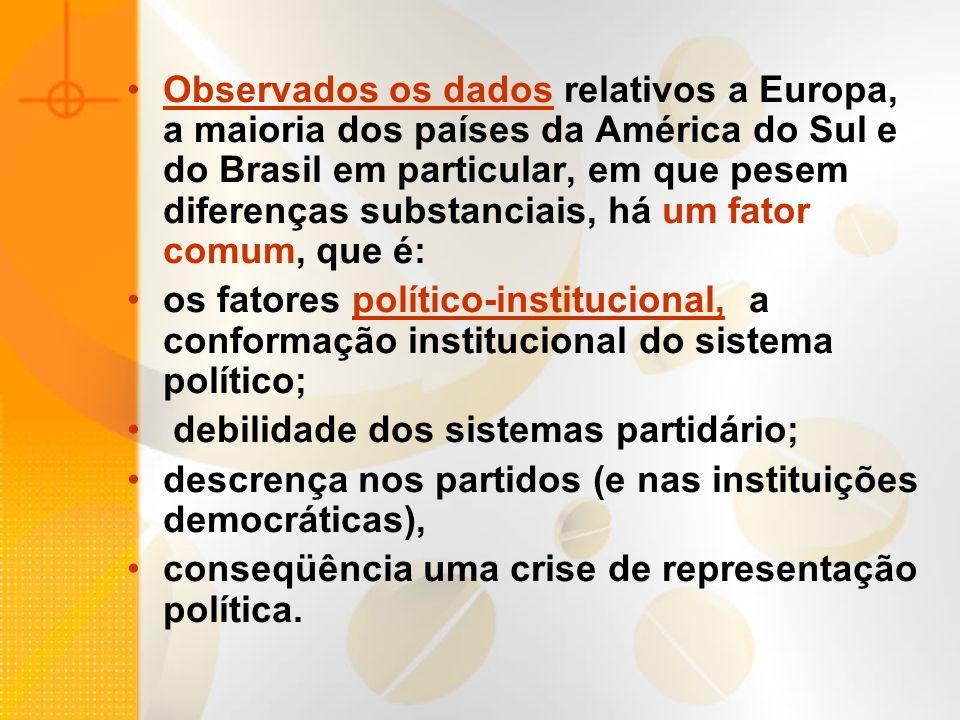 Observados os dados relativos a Europa, a maioria dos países da América do Sul e do Brasil em particular, em que pesem diferenças substanciais, há um