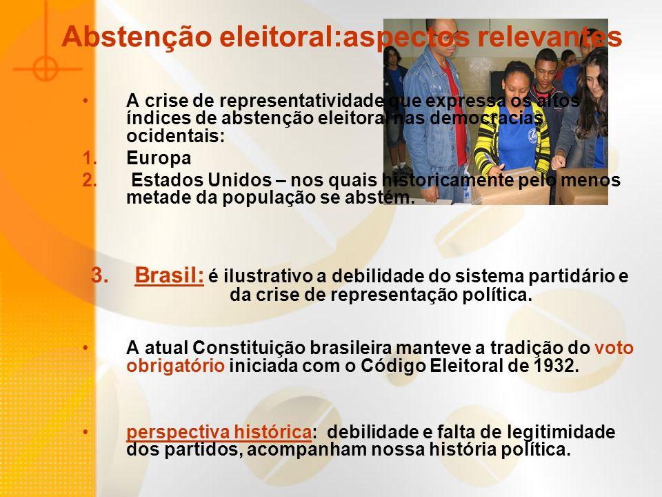 Abstenção eleitoral:aspectos relevantes A crise de representatividade que expressa os altos índices de abstenção eleitoral nas democracias ocidentais: