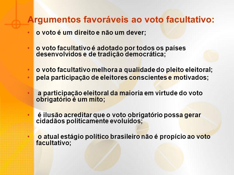 Argumentos favoráveis ao voto facultativo: o voto é um direito e não um dever; o voto facultativo é adotado por todos os países desenvolvidos e de tra