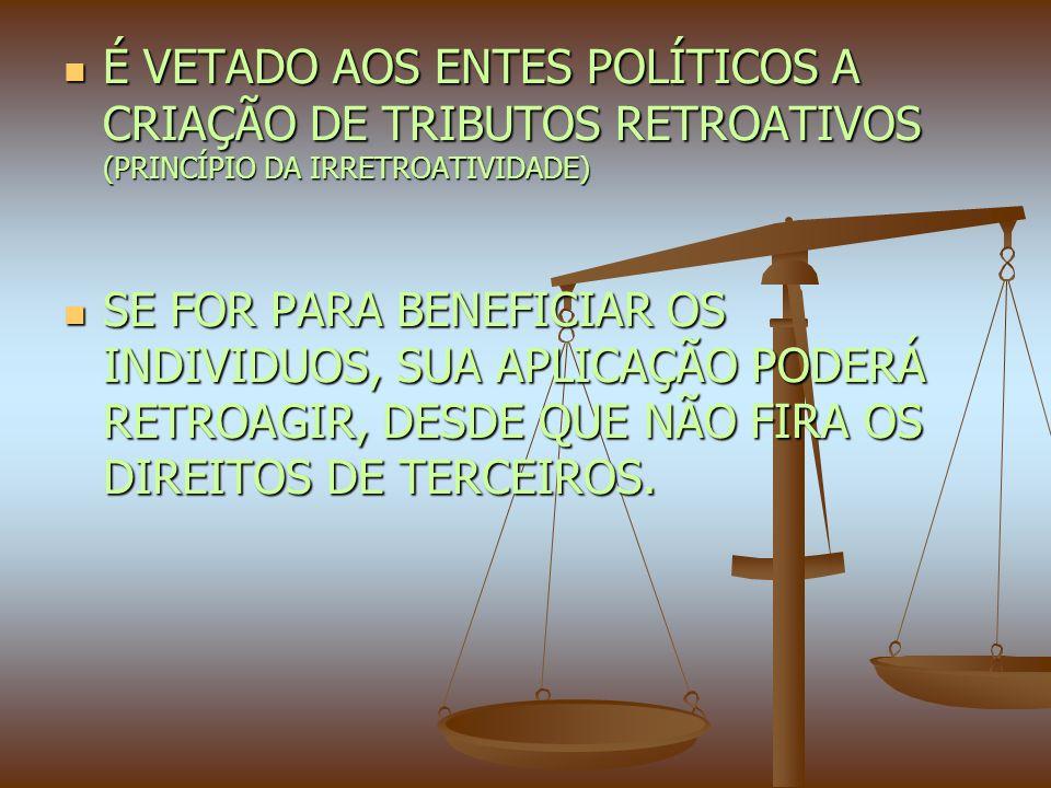 É VETADO AOS ENTES POLÍTICOS A CRIAÇÃO DE TRIBUTOS RETROATIVOS (PRINCÍPIO DA IRRETROATIVIDADE) É VETADO AOS ENTES POLÍTICOS A CRIAÇÃO DE TRIBUTOS RETROATIVOS (PRINCÍPIO DA IRRETROATIVIDADE) SE FOR PARA BENEFICIAR OS INDIVIDUOS, SUA APLICAÇÃO PODERÁ RETROAGIR, DESDE QUE NÃO FIRA OS DIREITOS DE TERCEIROS.