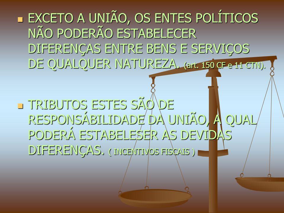 EXCETO A UNIÃO, OS ENTES POLÍTICOS NÃO PODERÃO ESTABELECER DIFERENÇAS ENTRE BENS E SERVIÇOS DE QUALQUER NATUREZA.