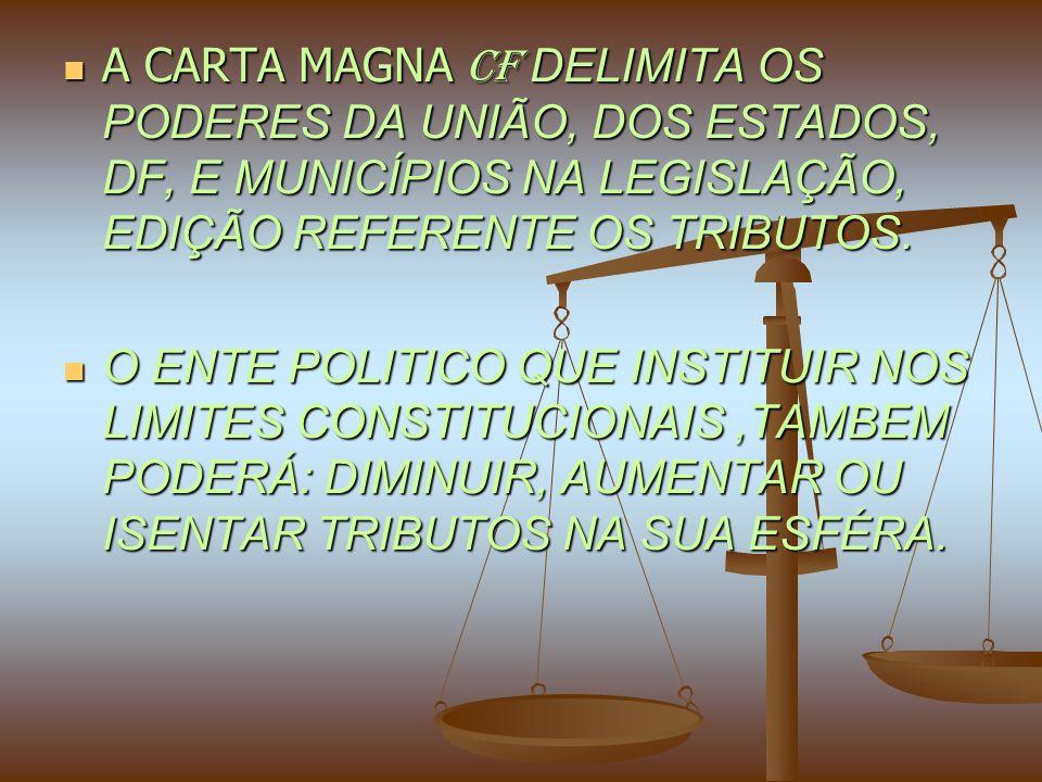 A CARTA MAGNA CF DELIMITA OS PODERES DA UNIÃO, DOS ESTADOS, DF, E MUNICÍPIOS NA LEGISLAÇÃO, EDIÇÃO REFERENTE OS TRIBUTOS.