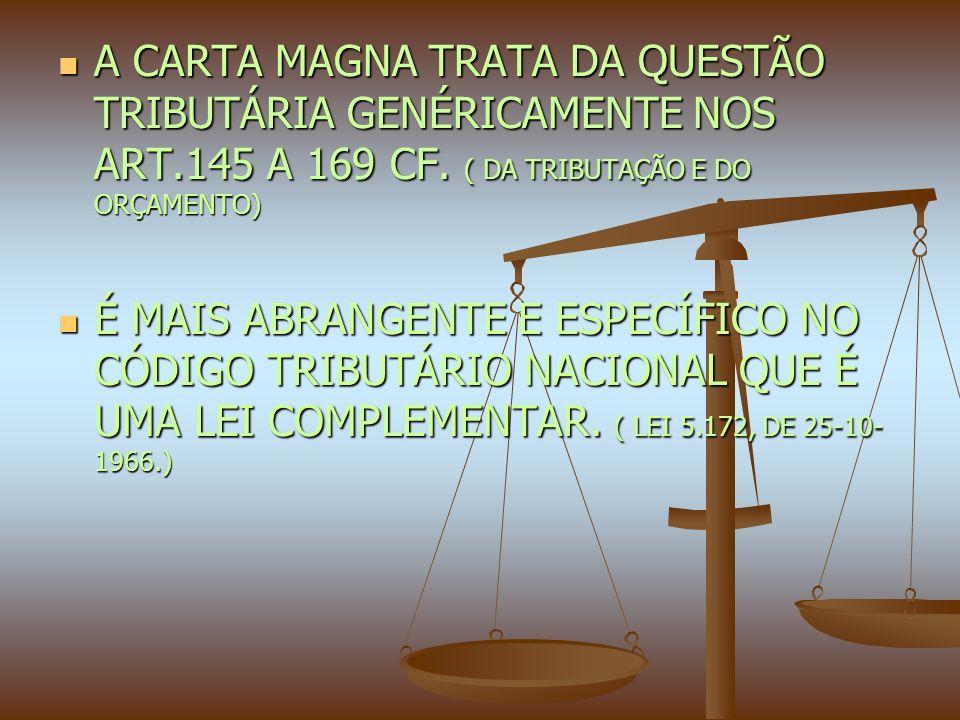 A CARTA MAGNA TRATA DA QUESTÃO TRIBUTÁRIA GENÉRICAMENTE NOS ART.145 A 169 CF.