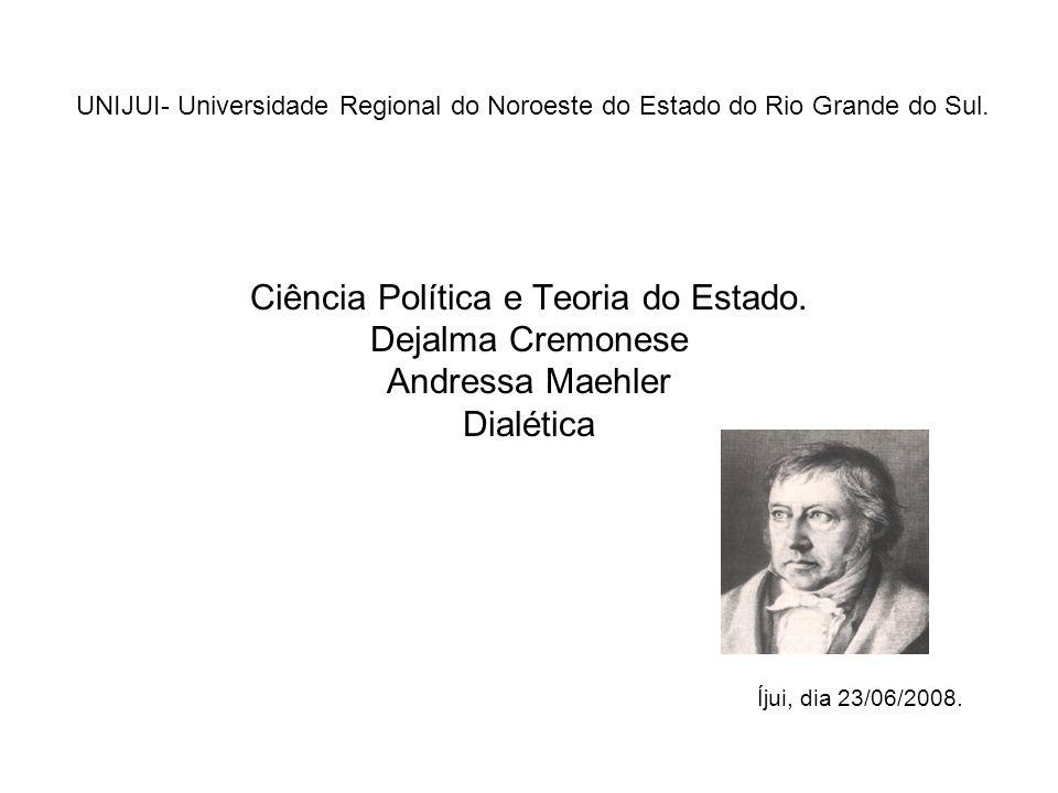 UNIJUI- Universidade Regional do Noroeste do Estado do Rio Grande do Sul. Ciência Política e Teoria do Estado. Dejalma Cremonese Andressa Maehler Dial