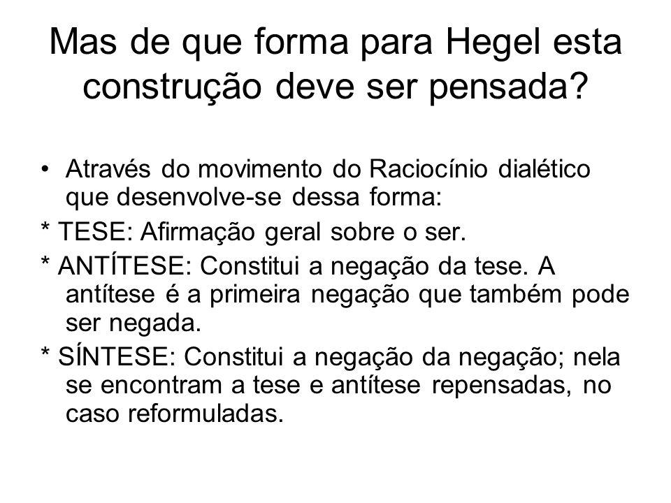 Mas de que forma para Hegel esta construção deve ser pensada? Através do movimento do Raciocínio dialético que desenvolve-se dessa forma: * TESE: Afir