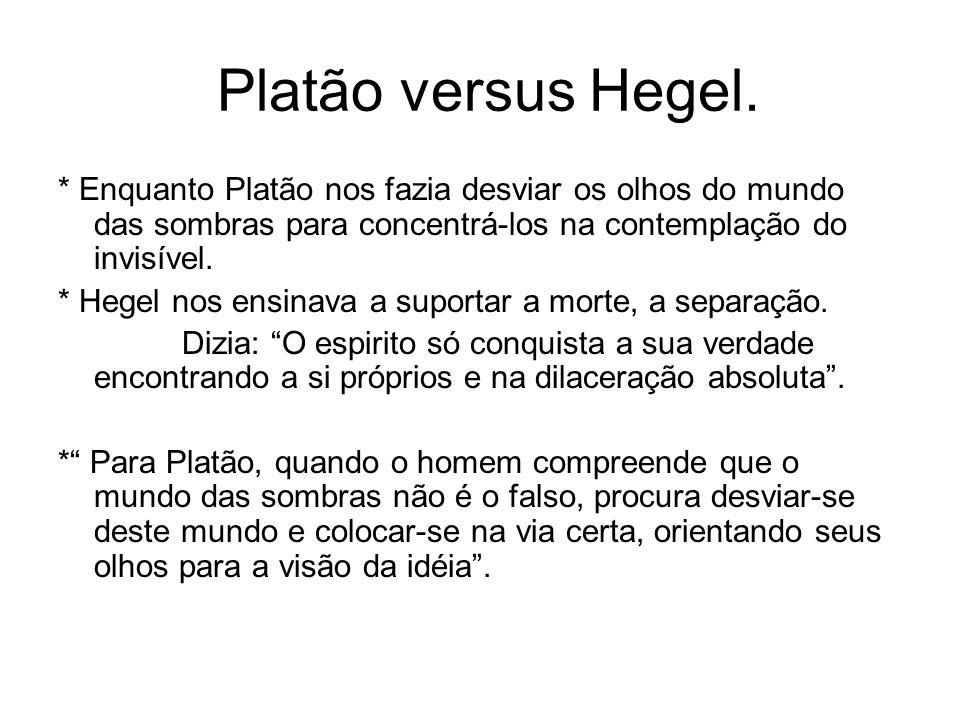 Platão versus Hegel. * Enquanto Platão nos fazia desviar os olhos do mundo das sombras para concentrá-los na contemplação do invisível. * Hegel nos en