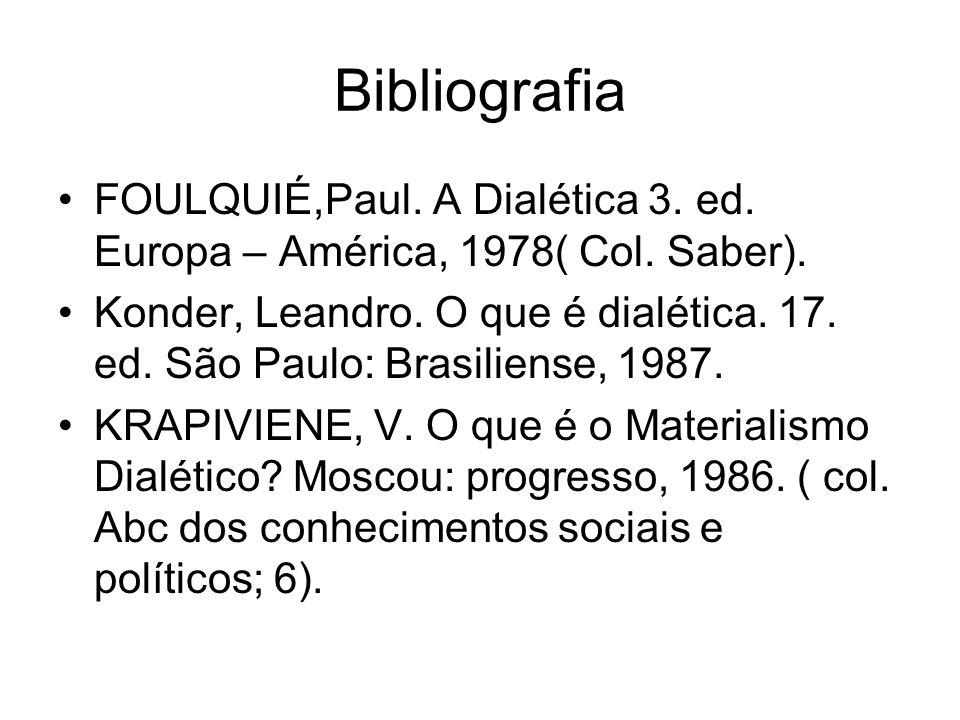 Bibliografia FOULQUIÉ,Paul. A Dialética 3. ed. Europa – América, 1978( Col. Saber). Konder, Leandro. O que é dialética. 17. ed. São Paulo: Brasiliense