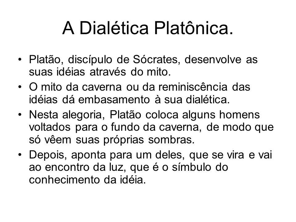 A Dialética Platônica. Platão, discípulo de Sócrates, desenvolve as suas idéias através do mito. O mito da caverna ou da reminiscência das idéias dá e