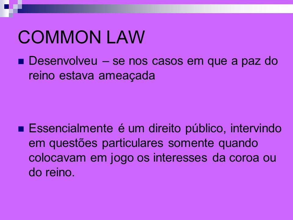 COMMON LAW Desenvolveu – se nos casos em que a paz do reino estava ameaçada Essencialmente é um direito público, intervindo em questões particulares s