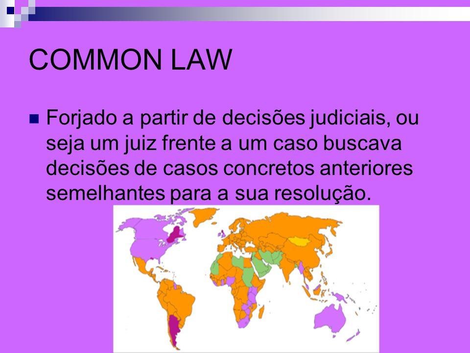 COMMON LAW Forjado a partir de decisões judiciais, ou seja um juiz frente a um caso buscava decisões de casos concretos anteriores semelhantes para a