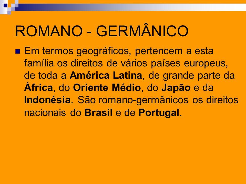 ROMANO - GERMÂNICO Em termos geográficos, pertencem a esta família os direitos de vários países europeus, de toda a América Latina, de grande parte da