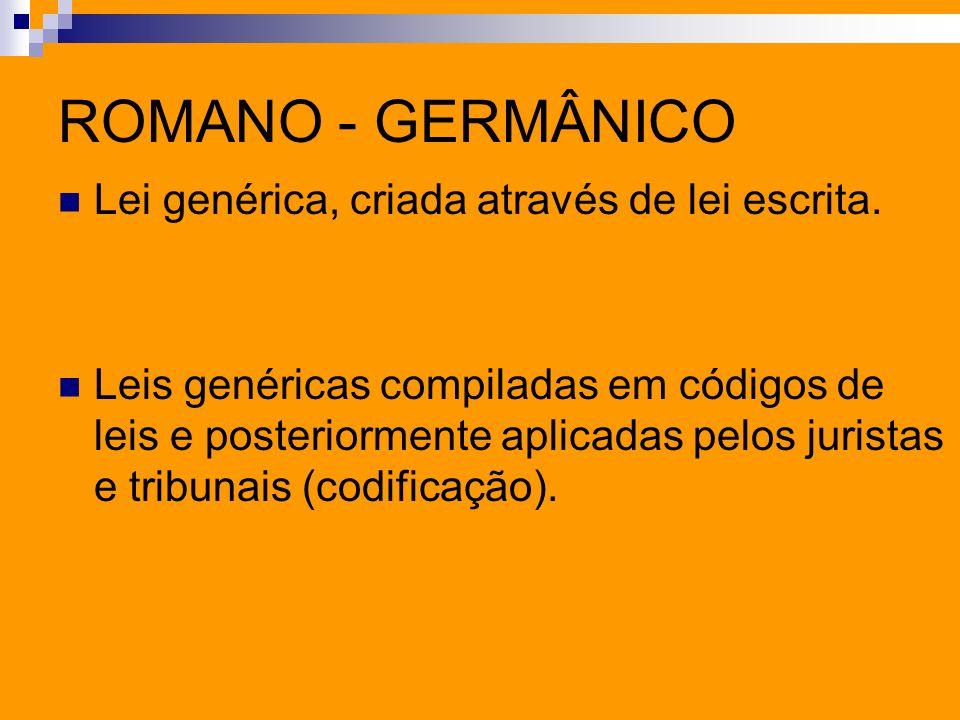 ROMANO - GERMÂNICO Lei genérica, criada através de lei escrita. Leis genéricas compiladas em códigos de leis e posteriormente aplicadas pelos juristas