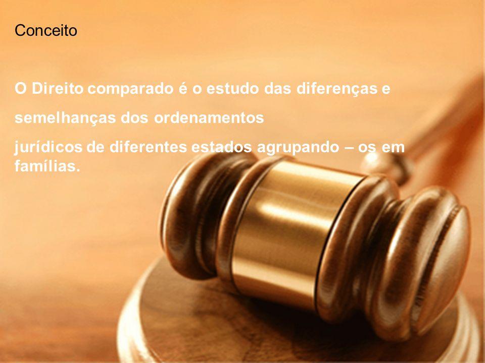 Conceito O Direito comparado é o estudo das diferenças e semelhanças dos ordenamentos jurídicos de diferentes estados agrupando – os em famílias.