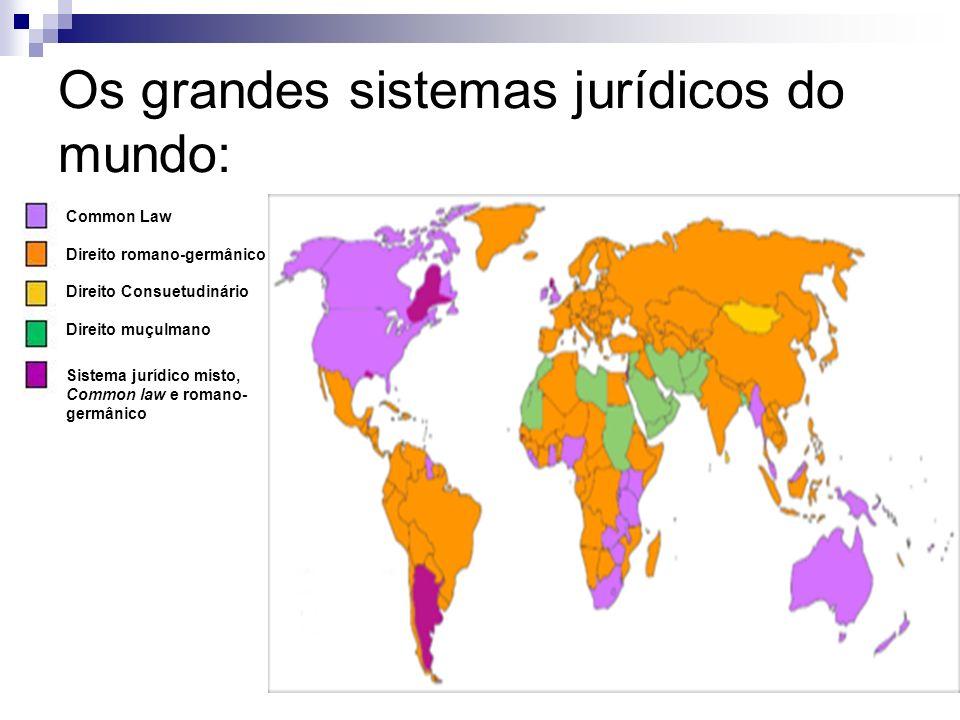 Os grandes sistemas jurídicos do mundo: Common Law Direito romano-germânico Direito Consuetudinário Direito muçulmano Sistema jurídico misto, Common l