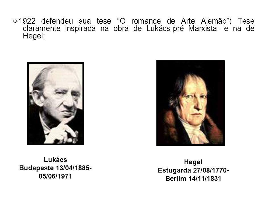 1922 defendeu sua tese O romance de Arte Alemão( Tese claramente inspirada na obra de Lukács-pré Marxista- e na de Hegel; Lukács Budapeste 13/04/1885- 05/06/1971 Hegel Estugarda 27/08/1770- Berlim 14/11/1831