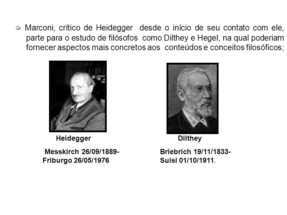 Marconi, crítico de Heidegger desde o início de seu contato com ele, parte para o estudo de filósofos como Dilthey e Hegel, na qual poderiam fornecer aspectos mais concretos aos conteúdos e conceitos filosóficos; Messkirch 26/09/1889- Friburgo 26/05/1976 Briebrich 19/11/1833- Suisi 01/10/1911.