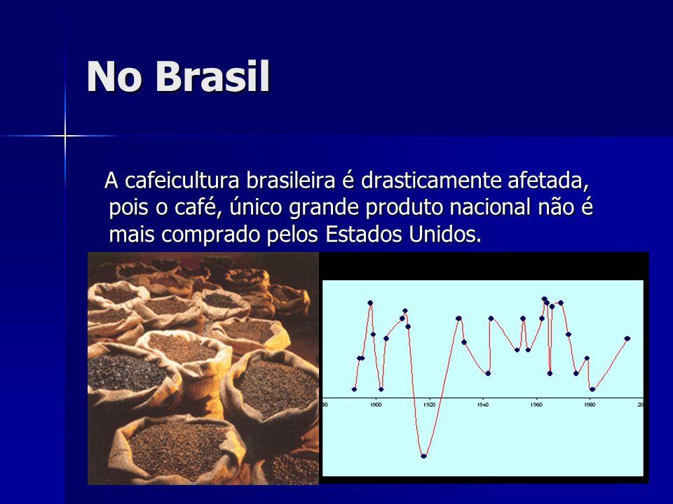 No Brasil A cafeicultura brasileira é drasticamente afetada, pois o café, único grande produto nacional não é mais comprado pelos Estados Unidos.