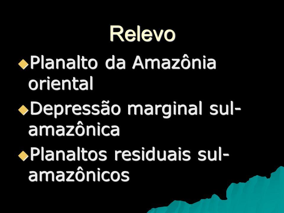Relevo Planalto da Amazônia oriental Planalto da Amazônia oriental Depressão marginal sul- amazônica Depressão marginal sul- amazônica Planaltos resid