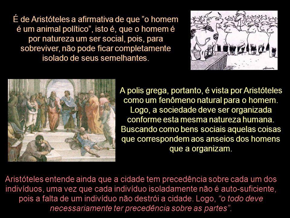 É de Aristóteles a afirmativa de que o homem é um animal político, isto é, que o homem é por natureza um ser social, pois, para sobreviver, não pode f