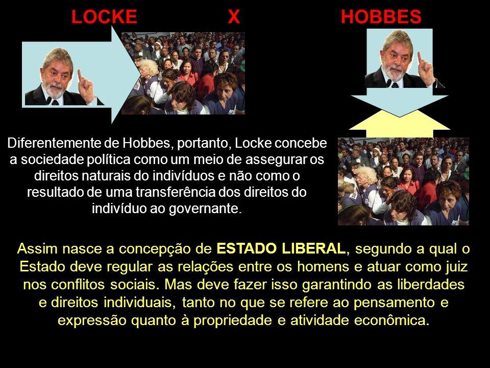 Diferentemente de Hobbes, portanto, Locke concebe a sociedade política como um meio de assegurar os direitos naturais do indivíduos e não como o resul