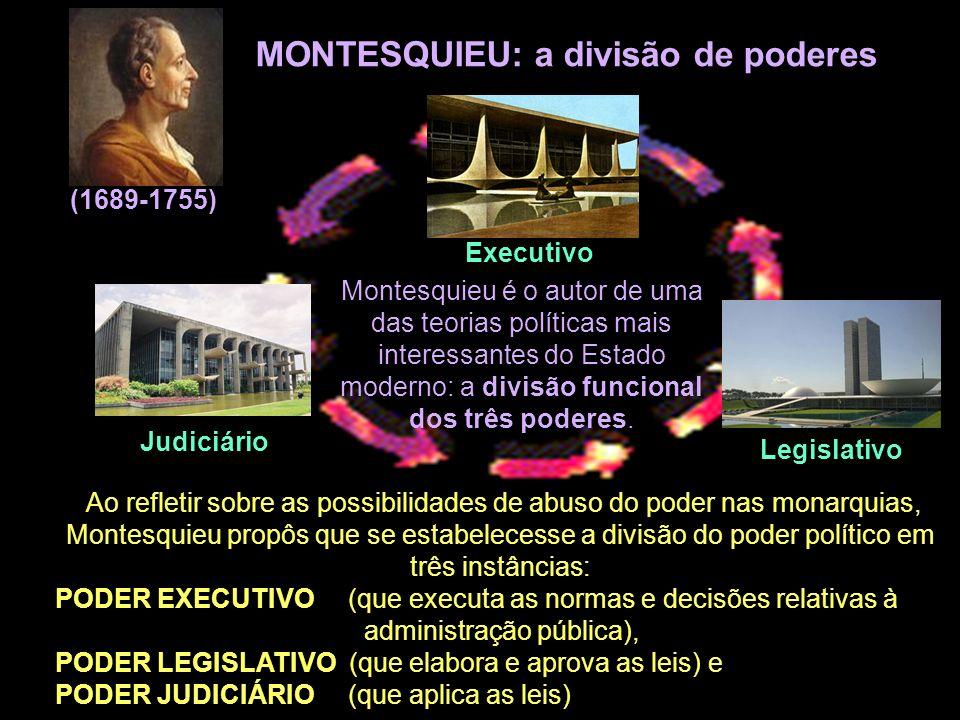 MONTESQUIEU: a divisão de poderes (1689-1755) Montesquieu é o autor de uma das teorias políticas mais interessantes do Estado moderno: a divisão funci