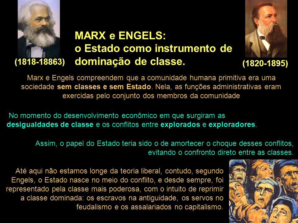 MARX e ENGELS: o Estado como instrumento de dominação de classe. (1818-18863) (1820-1895) Marx e Engels compreendem que a comunidade humana primitiva