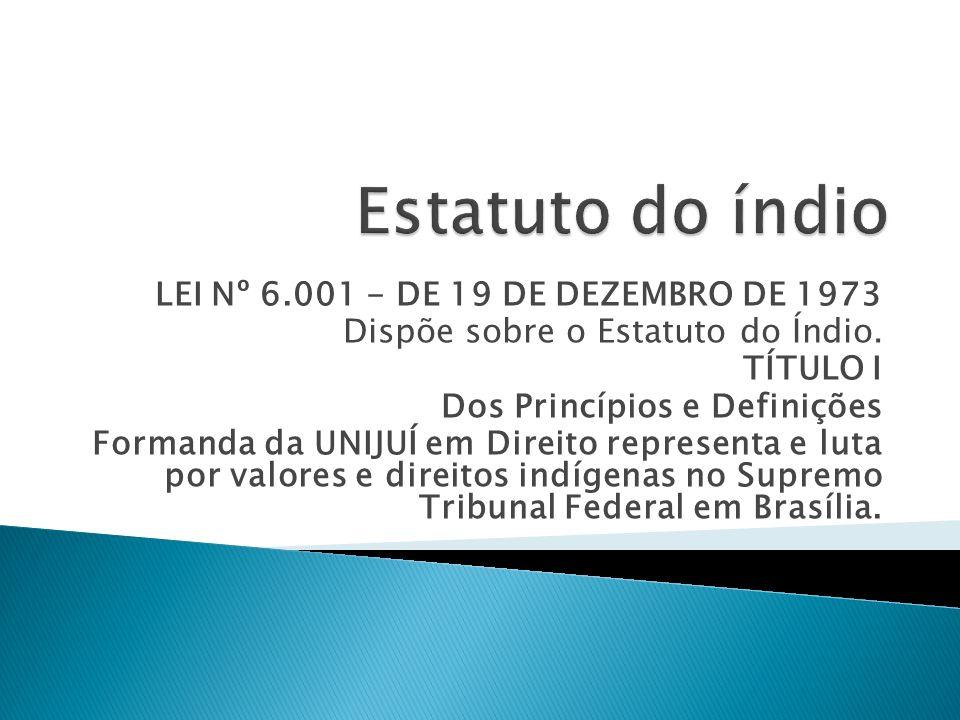 LEI Nº 6.001 - DE 19 DE DEZEMBRO DE 1973 Dispõe sobre o Estatuto do Índio. TÍTULO I Dos Princípios e Definições Formanda da UNIJUÍ em Direito represen