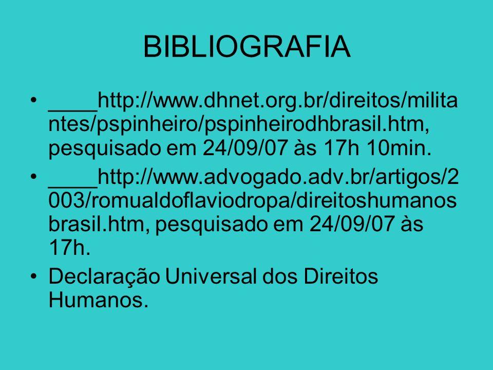 BIBLIOGRAFIA ____http://www.dhnet.org.br/direitos/milita ntes/pspinheiro/pspinheirodhbrasil.htm, pesquisado em 24/09/07 às 17h 10min. ____http://www.a