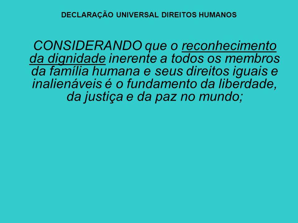 DECLARAÇÃO UNIVERSAL DIREITOS HUMANOS CONSIDERANDO que o reconhecimento da dignidade inerente a todos os membros da família humana e seus direitos igu