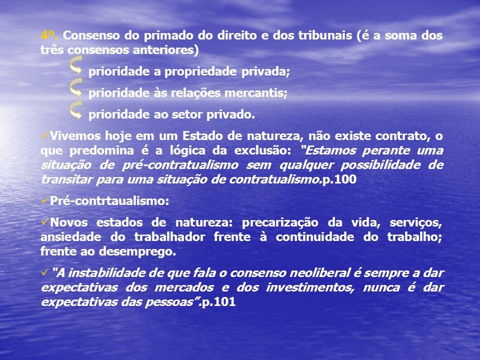 4º. Consenso do primado do direito e dos tribunais (é a soma dos três consensos anteriores) prioridade a propriedade privada; prioridade às relações m