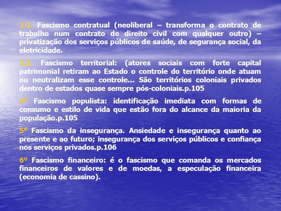 3.1. Fascismo contratual (neoliberal – transforma o contrato de trabalho num contrato de direito civil com qualquer outro) – privatização dos serviços