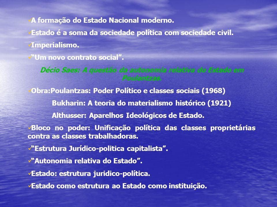 A formação do Estado Nacional moderno.Estado é a soma da sociedade política com sociedade civil.