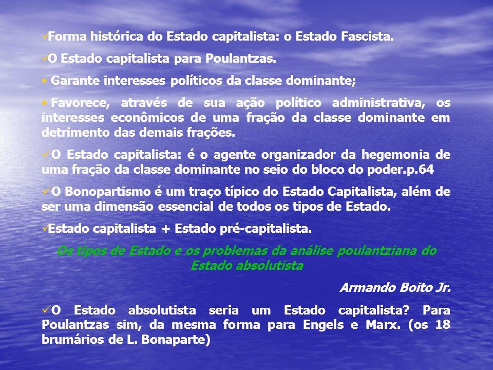 Forma histórica do Estado capitalista: o Estado Fascista.