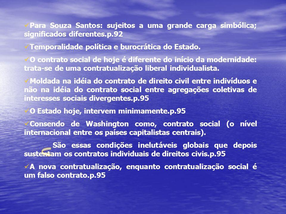 Para Souza Santos: sujeitos a uma grande carga simbólica; significados diferentes.p.92 Temporalidade política e burocrática do Estado.