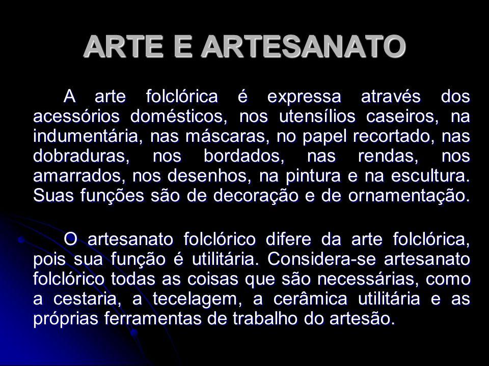 ARTE E ARTESANATO A arte folclórica é expressa através dos acessórios domésticos, nos utensílios caseiros, na indumentária, nas máscaras, no papel rec