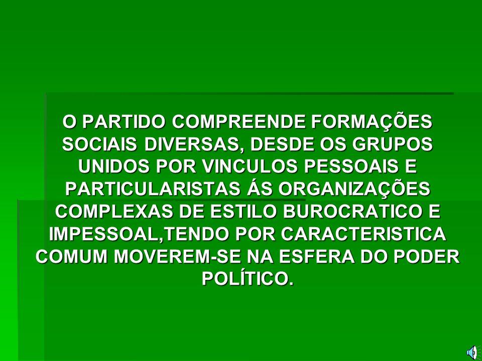 DEFINIÇÃO: DE ACORDO COM WEBER PARTIDO POLÍTICO É UMA ASSOCIAÇÃO..., QUE VISA A UM FIM DELIBERADO, SEJA ELE OBJETIVO, COMO A REALIZAÇÃO DE UM PLANO COM INTUITOS MATERIAIS OU IDEAIS, SEJA PESSOAL, ISTO É, DESTINADO A OBTER BENEFICIOS, PODER E GLORIA PARA OS CHEFES OU VOLTADO PARA ESTES OBJETIVOS JUNTOS.