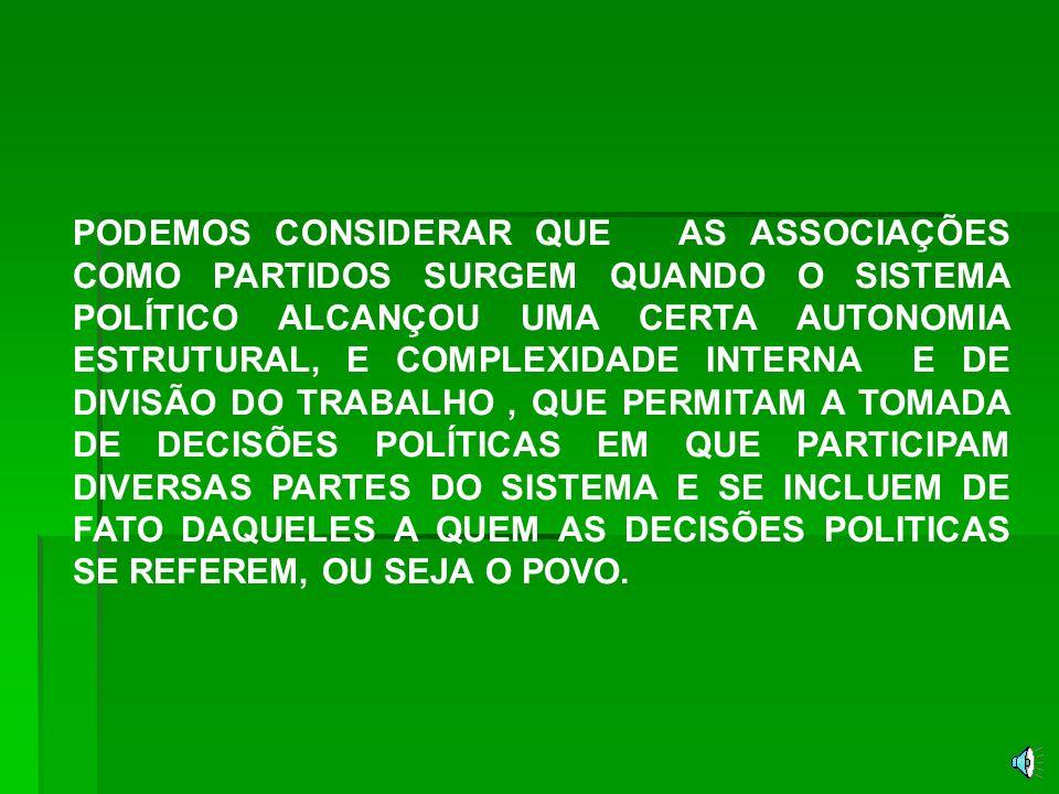 O PARTIDO COMPREENDE FORMAÇÕES SOCIAIS DIVERSAS, DESDE OS GRUPOS UNIDOS POR VINCULOS PESSOAIS E PARTICULARISTAS ÁS ORGANIZAÇÕES COMPLEXAS DE ESTILO BUROCRATICO E IMPESSOAL,TENDO POR CARACTERISTICA COMUM MOVEREM-SE NA ESFERA DO PODER POLÍTICO.