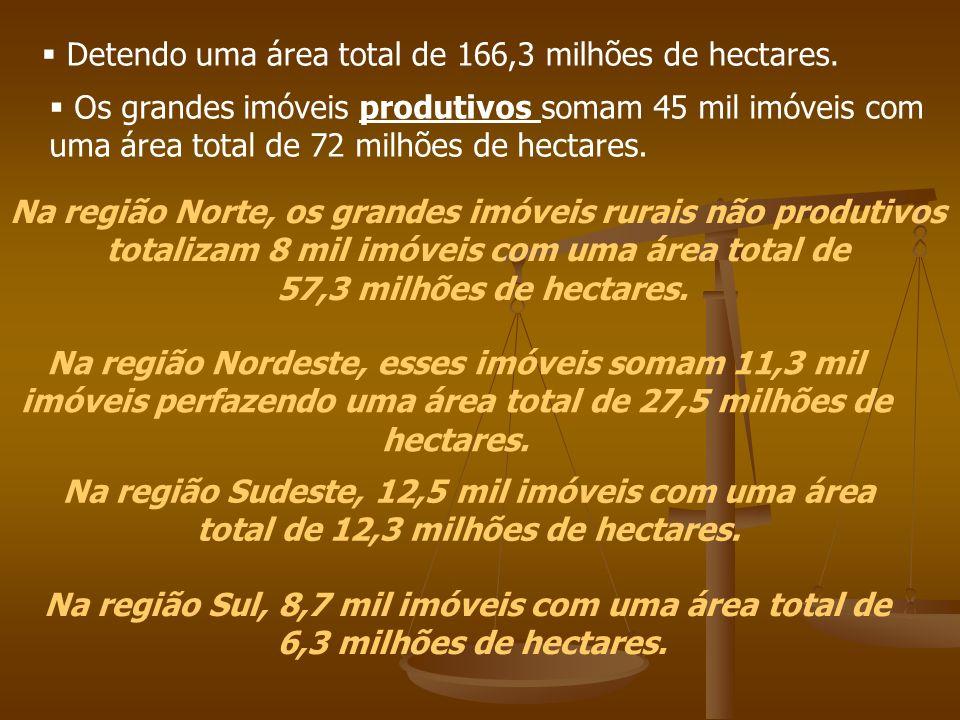 Detendo uma área total de 166,3 milhões de hectares. Os grandes imóveis produtivos somam 45 mil imóveis com uma área total de 72 milhões de hectares.