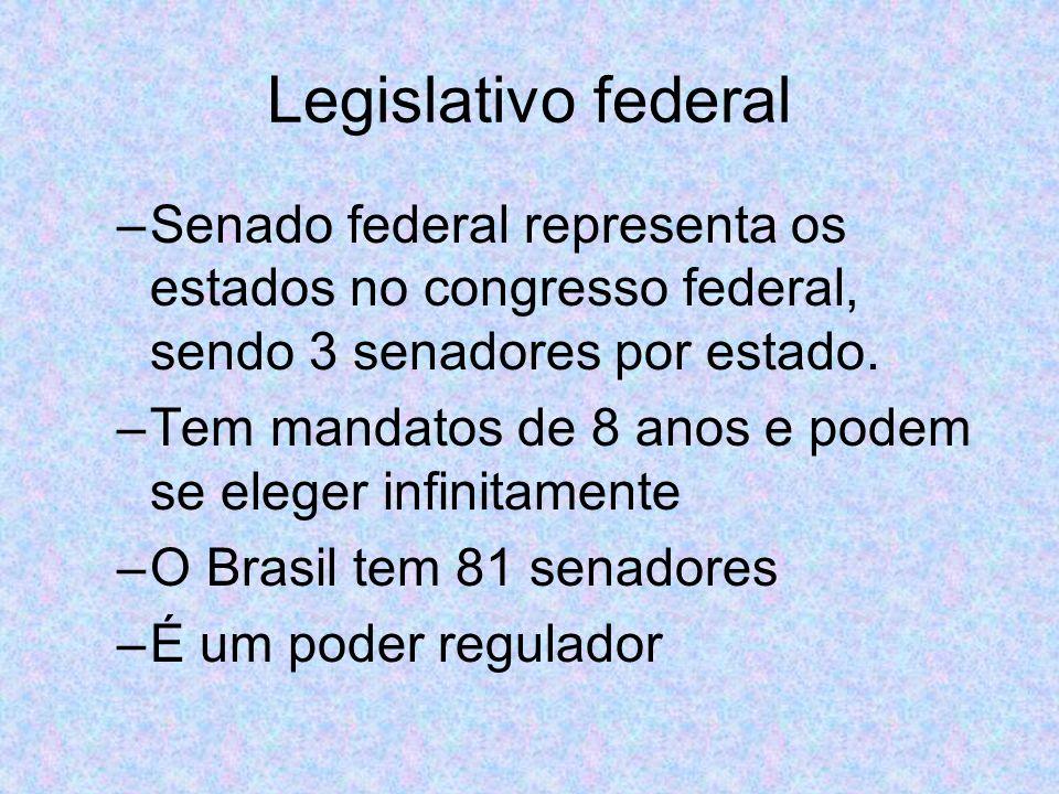 Legislativo federal –Senado federal representa os estados no congresso federal, sendo 3 senadores por estado.