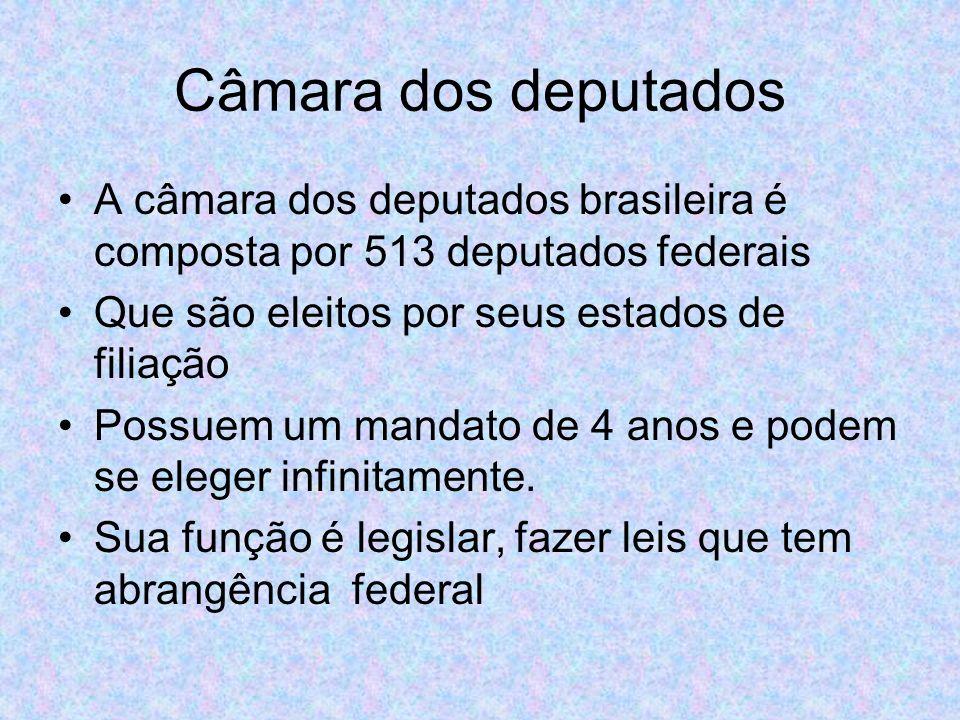 Câmara dos deputados A câmara dos deputados brasileira é composta por 513 deputados federais Que são eleitos por seus estados de filiação Possuem um mandato de 4 anos e podem se eleger infinitamente.