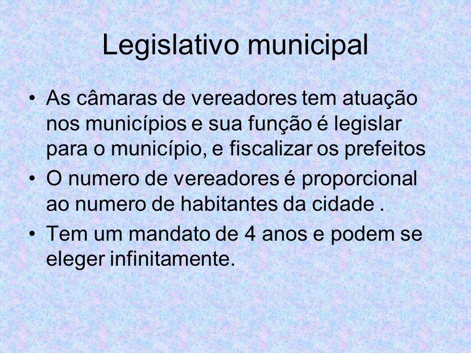 Legislativo municipal As câmaras de vereadores tem atuação nos municípios e sua função é legislar para o município, e fiscalizar os prefeitos O numero de vereadores é proporcional ao numero de habitantes da cidade.
