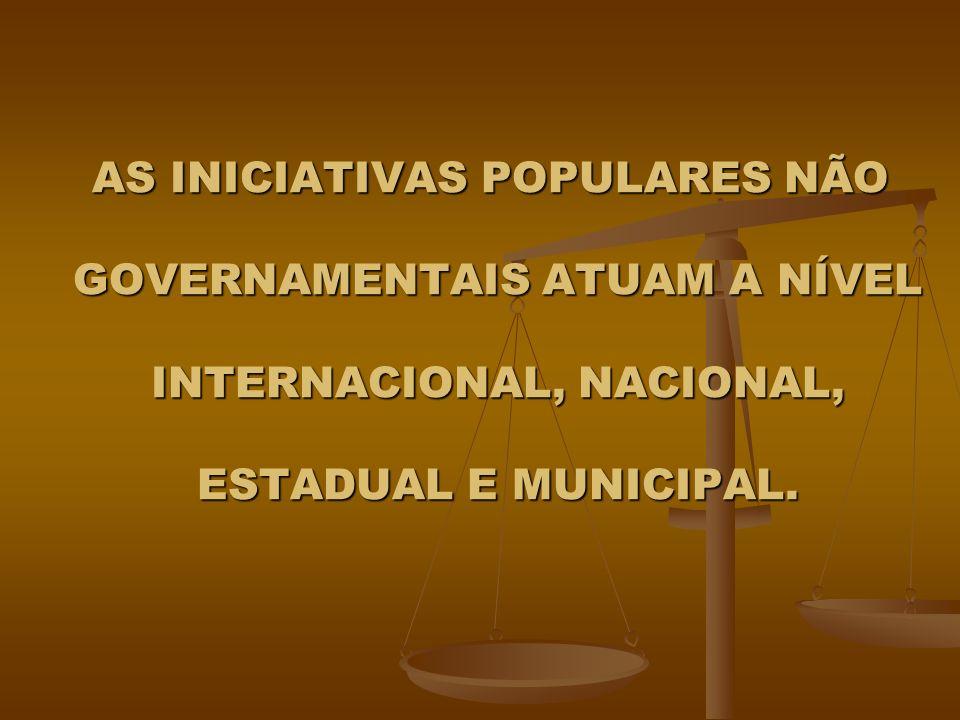 AS INICIATIVAS POPULARES NÃO GOVERNAMENTAIS ATUAM A NÍVEL INTERNACIONAL, NACIONAL, ESTADUAL E MUNICIPAL.