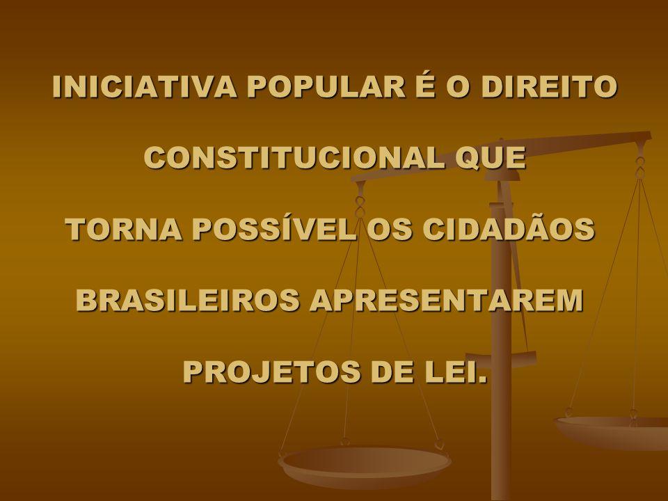 INICIATIVA POPULAR É O DIREITO CONSTITUCIONAL QUE TORNA POSSÍVEL OS CIDADÃOS BRASILEIROS APRESENTAREM PROJETOS DE LEI.