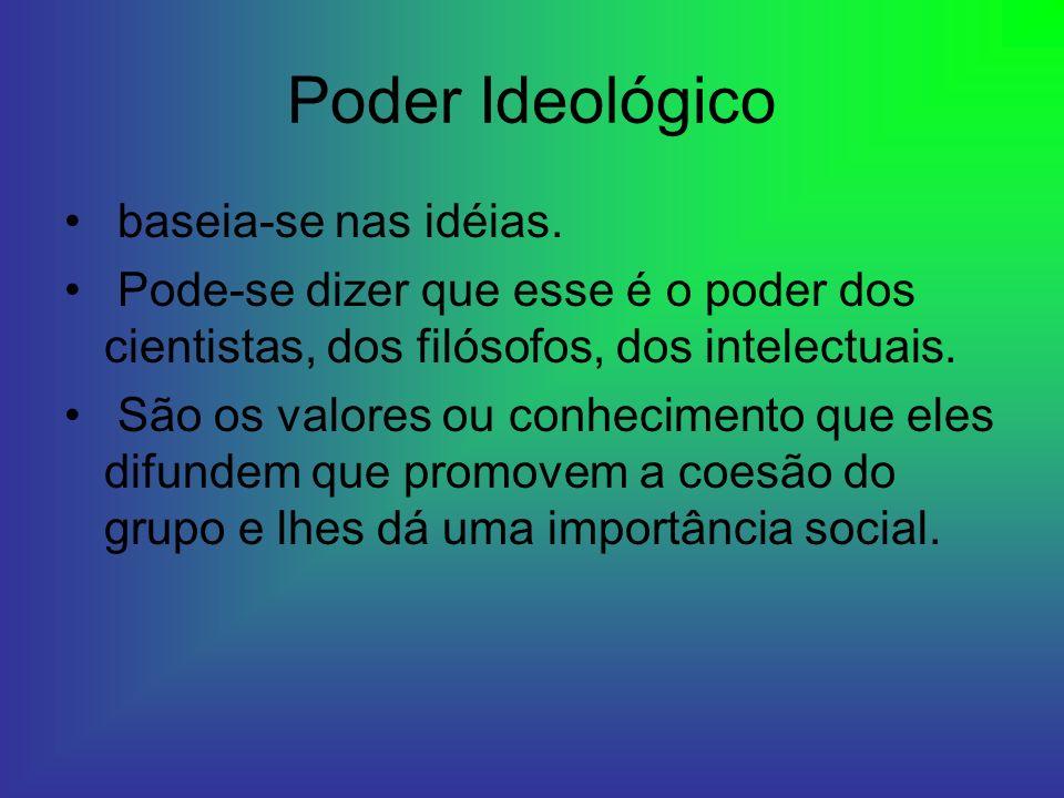 Poder Ideológico baseia-se nas idéias. Pode-se dizer que esse é o poder dos cientistas, dos filósofos, dos intelectuais. São os valores ou conheciment