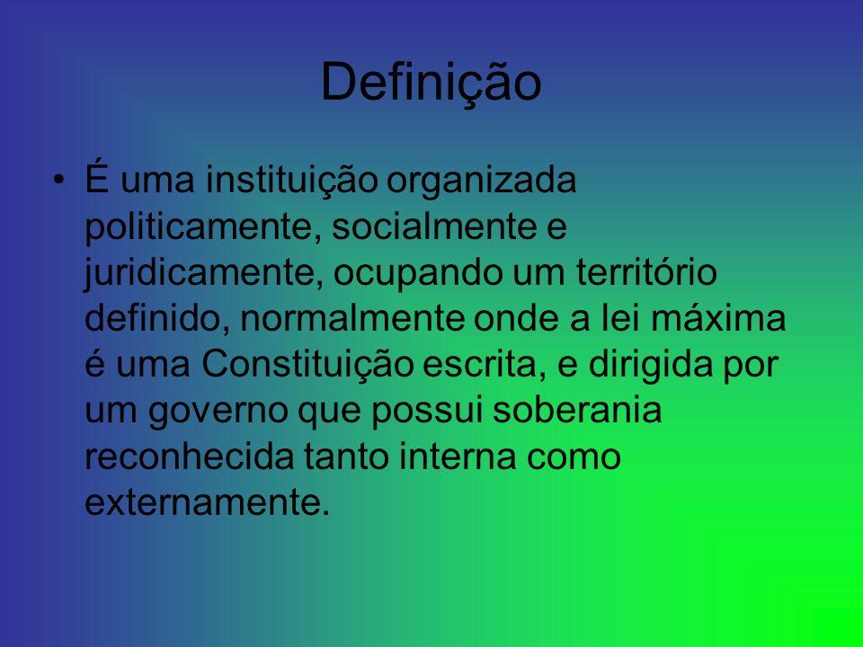 Definição É uma instituição organizada politicamente, socialmente e juridicamente, ocupando um território definido, normalmente onde a lei máxima é um