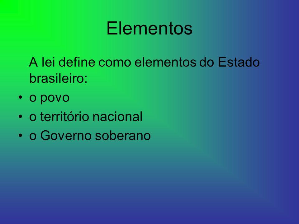 Elementos A lei define como elementos do Estado brasileiro: o povo o território nacional o Governo soberano