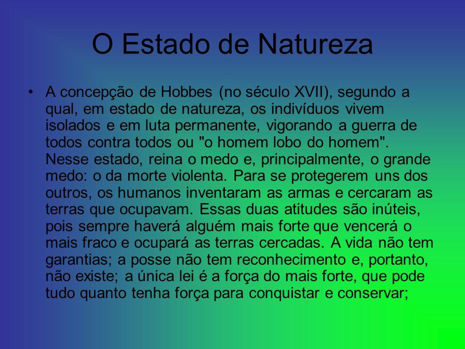 O Estado de Natureza A concepção de Hobbes (no século XVII), segundo a qual, em estado de natureza, os indivíduos vivem isolados e em luta permanente,